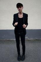 black H&M blazer - black Cheap Monday jeans - black Dr Martens boots - black bel