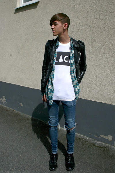 black vintage jacket - blue Cheap Monday jeans - black second hand shoes - white