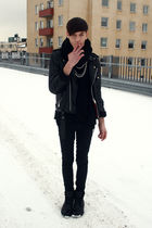 black H&M cardigan - black Cheap Monday jeans - black vintage jacket - black Din