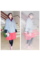 silver H&M cape - black purse - salmon Converse sneakers - red H&M skirt