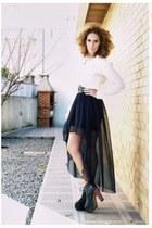 black boots - white blouse - black skirt