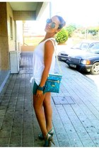 turquoise blue bag - silver sunglasses - turquoise blue skirt - white top