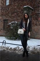 Zara boots - Zara bag - black Zara pants - black Zara vest