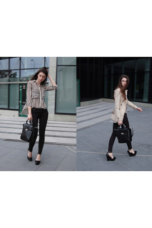 Zara coat - Sheinsidecom shirt - Zara bag - Bershka pants - Zara wedges
