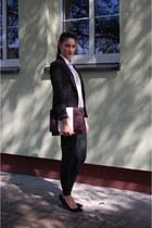 black Bershka blazer - white Bershka shirt - black Bershka pants