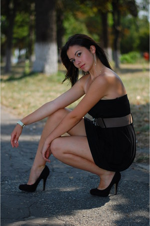 black Zara shoes - black armani dress - beige kahuna watch