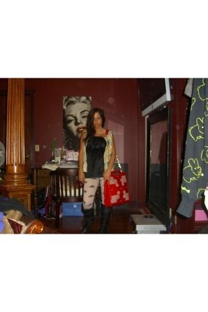 tory burch purse - primp leggings - H&M top - vintage vest - Chinese Laundry boo