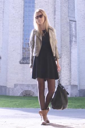 burnt orange H&M boots - black GINA TRICOT dress - beige H&M jacket