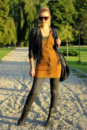 Stradivarius blazer - H&M boots - jeans - H&M jacket - Zara bag
