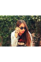 periwinkle blouse - black Guns n Roses Band shirt - black glasses - accessories