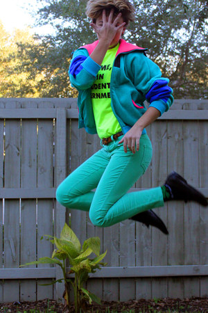 ski liner Columbia jacket - shamrock socks - corduroy Old Navy pants - loafers