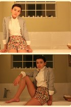 navy Old Navy blazer - camel lucca couture shorts - ivory Moda blouse