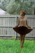ivory Forever 21 shirt - navy pleated Forever 21 skirt