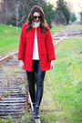 Red-wool-gift-coat-black-leather-winners-leggings