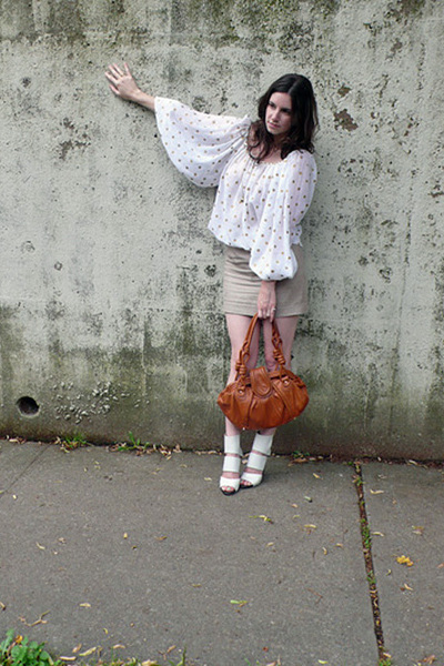 no tags- vintage shirt - Jcrew skirt - loeffler randall purse - Chloe shoes