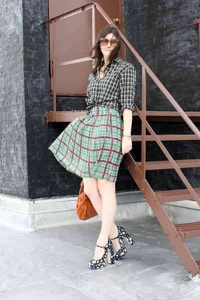 navy Miu Miu heels - navy steven alan shirt - tawny hattie loeffler randall bag