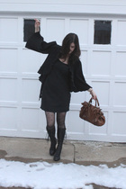 black No label jacket - black Diane Von Furstenberg dress - black fiorentini and