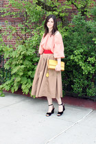 yellow Zac Posen bag - deep purple vintage YSL sandals - tan j for uniqlo skirt