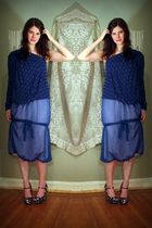 blue not sure skirt - blue robert rodriguez blouse - blue Miu Miu shoes