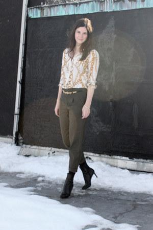 white Zara blouse - black Christian Louboutin boots - black judith leiber belt