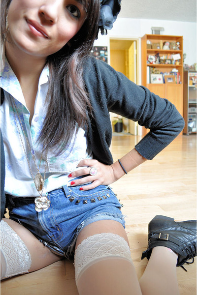 black cardigan - beige Urban Outfitters stockings - blue shorts - black Dolce Vi