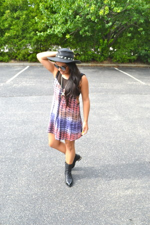 Nasty Gal romper - Jeffrey Campbell boots - Forever 21 hat