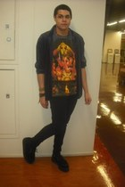 black creepers shoes - jeans - shirt - ganesha t-shirt t-shirt