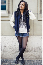 black fake leather Deichmann shoes - navy varsity Vero Moda jacket