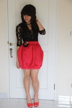 black warehouse top - red River Island skirt - red Zara shoes - red Lilmoo brace
