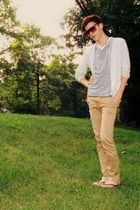 gray JCrew cardigan - blue H&M t-shirt - beige BDG pants - brown hollister shoes