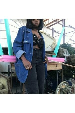 black high-waisted jeans - navy denim jacket - black jeweled bra
