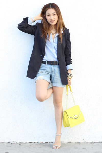 yellow Olivia and Joy bag - black black blazer Zara blazer