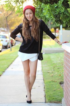 JewelMint bracelet - red beanie PUBLIK hat - Heart Loom sweater - shoemint heels