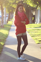 red H&M sweater - bubble gum fringe PUBLIK scarf