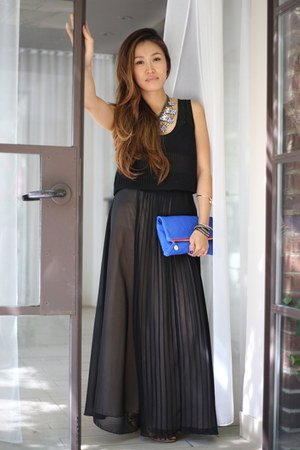 black Charlotte Russe skirt - blue Clare Vivier bag - black PUBLIK top