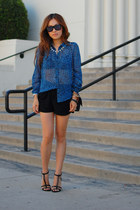 leopard top PUBLIK top - Cheap Monday shorts - strap heels Zara heels