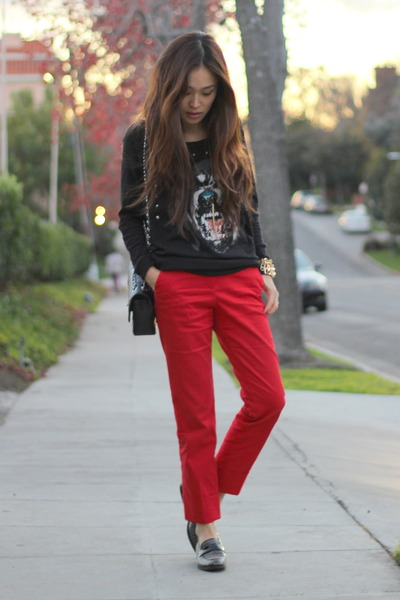 red Zara pants - black PUBLIK top - black Aldo loafers