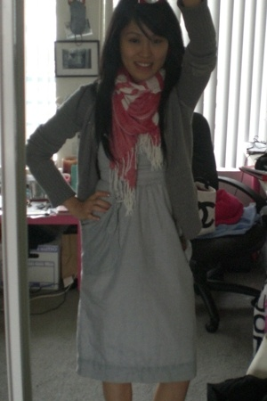 Urban Outfitters scarf - Urban Outfitters dress - abercrombie and fitch jacket