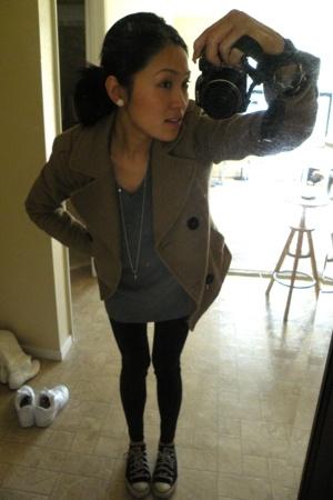 H&M blazer - Barney Co-op dress - forever 21 tights