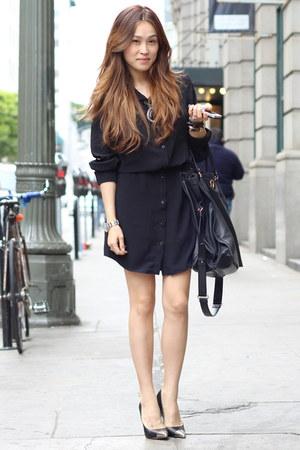 black shirt dress Zamrie dress - black oversize bag Salvatore Ferragamo bag