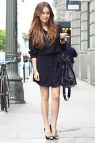 black shirt dress Zamrie dress - black oversize bag Salvatore Ferragamo bag