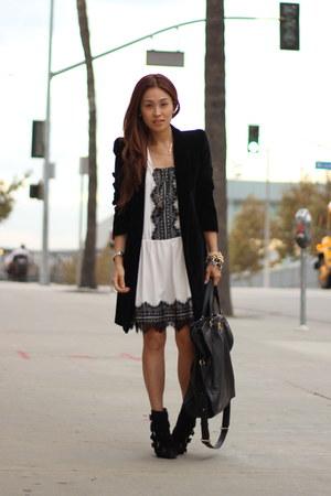 black velvet coat Zara coat - white white dress PUBLIK dress