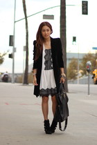 black velvet coat Zara coat - white white dress PUBLIK dress