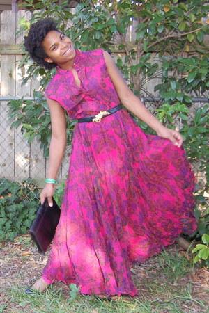 hot pink dress - black Morris Moskowitz bag - black belt - black penny loves ken