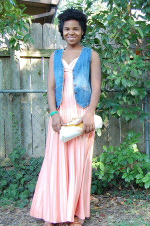 bubble gum dress - white clutch bag - brown thrifted sandals - blue demin thrift