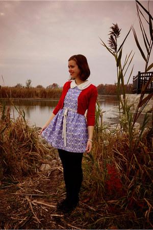 sky blue Sheinside dress - red modcloth cardigan