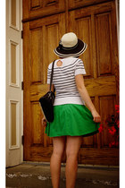 white striped Reitmans shirt - eggshell espe bag - green Dynamite skirt
