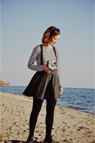 white stripes Simons shirt - dark gray modcloth skirt