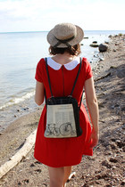 beige madeline hat - red modcloth dress - eggshell espe bag