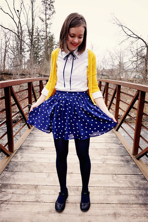 navy royal Forever 21 tights - gold modcloth cardigan